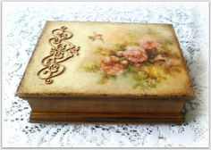 Vintage style wooden jewellery box treasure by CarmenHandCrafts