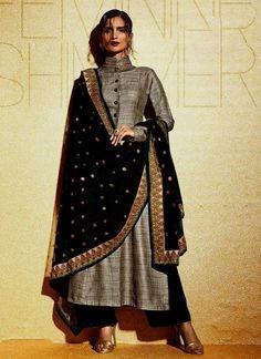 Simplistic Resham Work Grey Khadi Salwar Suit