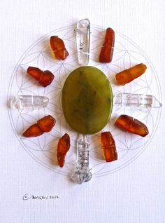 HAPPINESS VITALITY JOY   framed sacred crystal grid   flower of life --- amber --- jade -- quartz