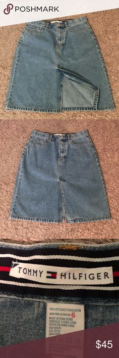 Tommy Hilfiger Denim Jean Skirt! Adorable Tommy Hilfiger jean skirt ! Light - Medium wash! Size 6! Great condition! Has a small slit in the front! Perfect for summer! Offers welcomed! Tommy Hilfiger Skirts