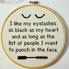 Sassy eyelashes cross stitch quote
