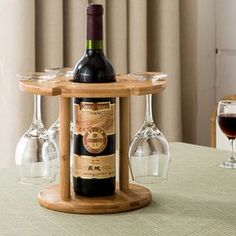 1-Bottle and 6-Glasses Wine Rack