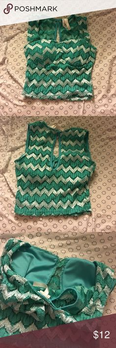 Sparkly teal crop top small crop top with padded bust and cut out back Tops Crop Tops