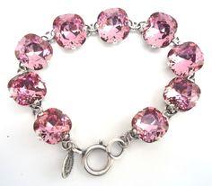 CATHERINE POPESCO Beautiful NEW 2014 Vintage Rose Swarovski Silvertone Bracelet #CatherinePopescoLaVieParisienne #LinkChain
