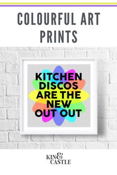 This modern kitchen disco art print will add a pop of colour to your kitchen wall decor. It's the perfect staying in quote! This wall art print makes a great birthday gift, new parents gift and Christmas gift in lockdown. Bring your kitchen decor to life with this colourful wall art print. Hallway Wall Decor, Hallway Decorating, Wall Art Decor, Monochrome Interior, Interior Design, Colorful Wall Art, Gallery Walls, Modern Art Prints, Living Room Art