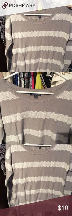 Gray and white striped sweater-American Eagle Gray and white striped sweater. So cute for the holidays! American Eagle Outfitters Sweaters Crew & Scoop Necks