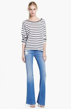 Alice + Olivia 'Stacy' Distressed Bell Bottom Jeans | Nordstrom