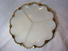 Vintage Milk Glass Divided Relish Plate With 24k Gold Trim Fire King Anchor Hock