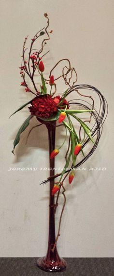Permanent botanical tulips and hydrangea with kiwi vine Kiwi Vine, Modern Flower Arrangements, Jan 2017, Japanese Flowers, Garden Club, Arte Floral, Ikebana, Botanical Art, Altar