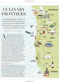 Lianne Harrison Gourmet Drive Map of the USA West Coast for House & Garden Magazine January 2014