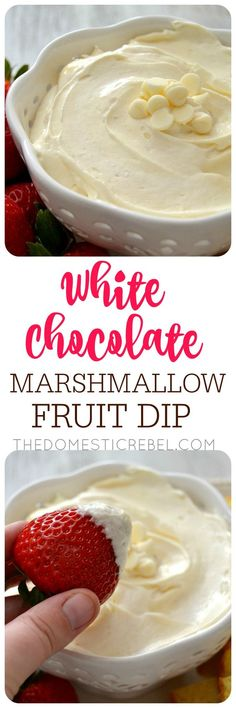 White Chocolate Marshmallow Fruit Dip is INCREDIBLE! Light fluffy creamy and smooth it's great with fresh fruit brownie bites pound cake cubes and more! Such an easy fast no-bake treat! Dip Recipes, Fruit Recipes, Appetizer Recipes, Sweet Recipes, Dessert Recipes, Cooking Recipes, Fruit Dips, Appetizers, Fruit Kabobs