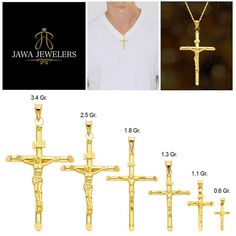 14K Yellow Gold Jewelry Pendants /& Charms Solid 11.5 mm 22.5 mm Polished Small Ribbon Cross Pendant