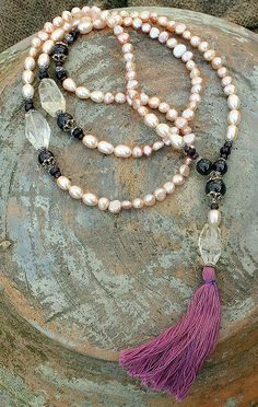 Pearl Mala with Garnet by look4treasures on Etsy, $42.50