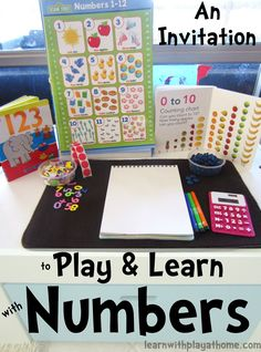 Invitation to Play & Learn with Numbers math tubs, invitations, at home, math centers, homes, play learn, learn number, learning numbers, kid