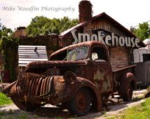 Smokehouse Old Truck Photo photograph DIGITAL Rust Wall Art Fine Art Wall Hanging Pickup Jalopy Photography BBQ Tampa Rustic Contrast