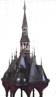 Grand chef-d'œuvre des Compagnons Couvreur du Devoir Langevin la Couronne et Langevin la Fidélité (1848) http://www.ginettefauquet.net/Fichierslies/Baldaquindecharpente.jpg