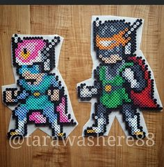 These two had to be made lol #dbz #drgaonballz #dragonball #goku #vegeta #trunks #bulma #broly #anime #manga #cell #frieza #fanart #collection #perlerbeads #perler #hama #hamabeads #fusebeads #beadart #kandi #rave #plur #sprites #pixel #pixelart #meltybeads #crafts