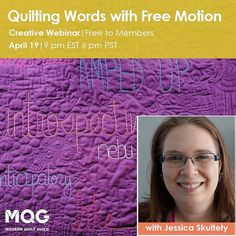 Join us for a webinar next Wednesday with @quiltyhabit about quilting with words! We go live on April 19 at 9pm EDT 6pm PDT. Learn more and register at the link in our profile.