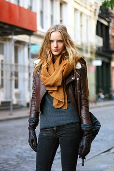 Leather jacket on a girl is automatically crazy sexy