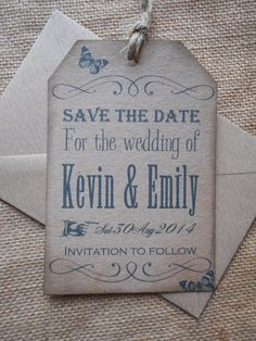Vintage Save the Date luggage tags, on kraft brown card with jute x 10 £6.99