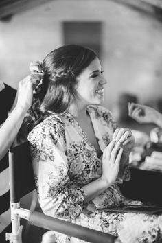 Floral robe for bride getting ready on wedding day!  http://www.neverseriousblog.com/the-perfect-day- wedding-recap-part-1-2/