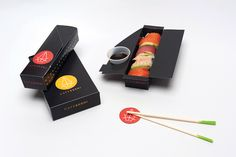 cool for rice paper rolls Cafe Sushi (Student Project) on Packaging of the World- Creative Package Design Gallery Japanese Packaging, Cool Packaging, Food Packaging Design, Packaging Design Inspiration, Brand Packaging, Sushi Logo, Sushi Menu, Sushi Bar Design, Sushi Take