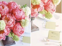 Pink peonies with touches of soft green