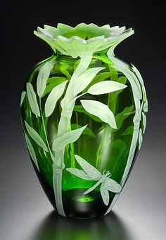 Bamboo and Dragonfly art glass vase by Cynthia Myers Art Of Glass, Glass Artwork, Cut Glass, Dragonfly Art, Objet D'art, Glass Design, Colored Glass, Shades Of Green, Stained Glass