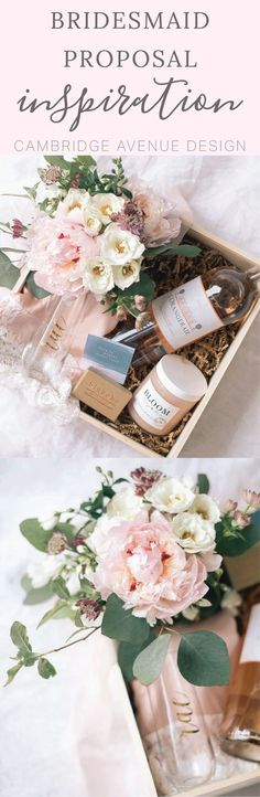 Will you be my bridesmaid box inspiration. Adding fresh flowers to your bridesmaid proposal box is ALWAYS a good idea! Add your favorite pampering products, a bouquet of fresh flowers, one of our personalized champagne flutes, and some bubbly for the ultimate bridesmaid proposal gift! After all...she deserves it.