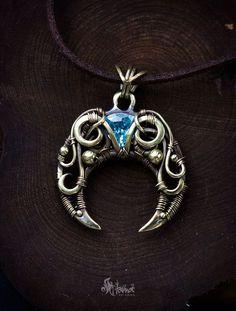Brass crescent moon pendant