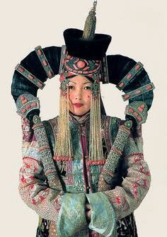 Womam in khalkha etnic costume, Mongolia