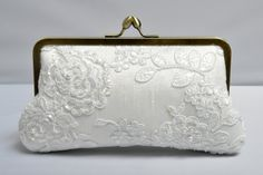 Rose Lace Kisslock Pearl & Lace Bridal Clutch  by ItsSoClutch, $60.00