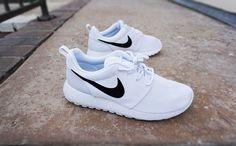 Womens Custom Nike Roshe Run sneakers, Minimalistic black and white design, black nike swoosh with black speckles, all white shoe