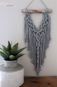 Excited to share this item from my shop: Stone Grey Macramé Wall Hanging . , Excited to share this item from my shop: Stone Grey Macramé Wall Hanging Macrame Wall Hanging Patterns, Macrame Art, Macrame Design, Macrame Projects, Macrame Knots, Macrame Patterns, Macrame Wall Hangings, Macrame Mirror, Macrame Curtain