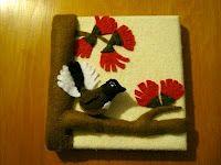 Creative Animalia Daily: Fantail and Pohutukawa flowers felt art - Day 3