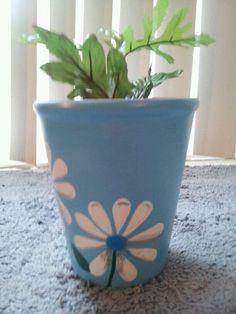 Jardinera de 7 pulgadas. Luz de pintado a mano azul con flores