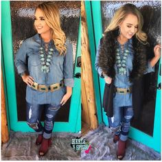 ALL SIZES RESTOCKED!! ❤️❤️NEW ARRIVAL❤️❤️ Denim Lace Up Top $39 Sizes(S-L) **FREE SHIPPING** Purchase Here >> https://www.heelsnspurs.com/collections/tops/products/denim-lace-up-top Vest $58>> https://www.heelsnspurs.com/collections/outerwear/products/the-colorado-fur-vest