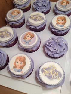 Sofia the First Cupcakes with fondant toppers http://CW-Cakes.com