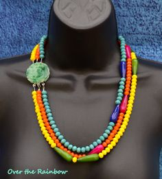 Multicolour opaque crystal and dyed jade necklace with aventurine clasp by Caprilicious Jewellery