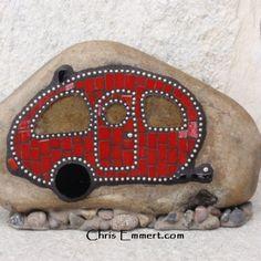 Red Retro Caravan - Mosaic on Rock Garden Stone   Chris Emmert Mosaic & Design
