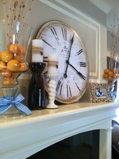 Mantel with skinny clock
