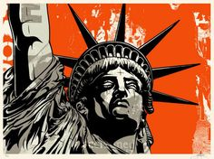Saboteur by Dave Kinsey- Set to a orange sky, the head of the Statue of Liberty stands cold in watch over the United States at any cost. Limited edition silkscreen art print artwork by famous artist Dave Kinsey.