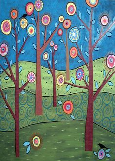Whimsical Trees and Birds Folk Art Karla by KarlaGerardFolkArt