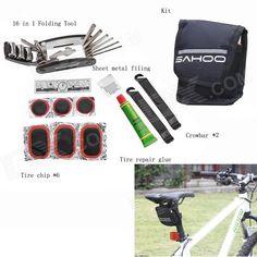SAHOO 21042b 27-in-1 Practical Portable Bike Bicycle Tire Repair Toolkit - Black   Multi-colored Price: $11.68