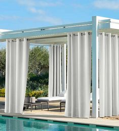 Coastal Solid Outdoor Curtain Panel with Grommets Drapery Panels, Panel Curtains, Silk Drapes, Outdoor Spaces, Outdoor Living, Patio Gazebo, Outdoor Pergola, Pergola Ideas, Outdoor Curtains