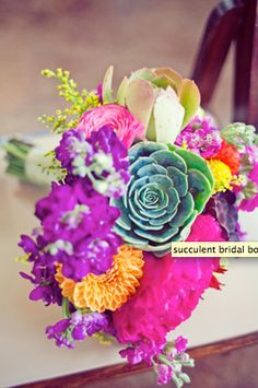 Bright and vibrant fiesta themed wedding bouquet Wedding Images, Our Wedding, Dream Wedding, Wedding Bride, Summer Wedding, Wedding Stuff, Wedding Bouquets, Wedding Flowers, Succulent Bouquet