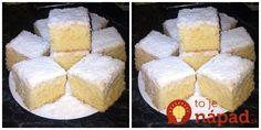 Milujete kokosové dezerty? Toto je absolútne dokonalý, rýchly a špeciálny recept, vyskúšali ho – chutí ako raffaello dezert! Potrebujeme: 1 hrnček = najviac 300 ml 2 vajcia 1 šálka mlieka 2 hrnčeky polohrubej múky 1/2 šálky roztopeného masla 1 bal. prášku do pečiva 1 hrnček práškového cukru Na vrch 1/2 hrnčeka cukru 1/2 šálky kokosu... Sweet Desserts, Sweet Recipes, Cake Recipes, Czech Recipes, Ethnic Recipes, Food 52, Cornbread, Vanilla Cake, Nutella