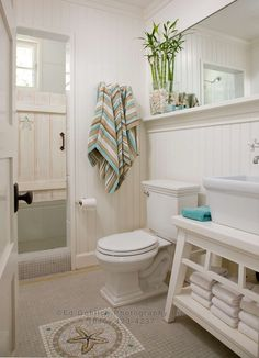 beachy powder room