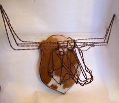 Texas Longhorn Wire Sculpture Hat Rack