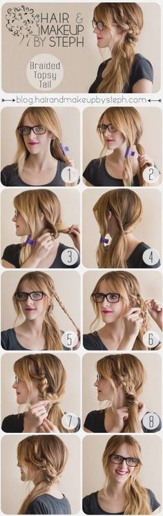 9 tutoriels coiffure tresse que vous n'aviez encore jamais vus How To Make a Boho Braided Topsy Tail (Step by Step)_Girl Hairstyle Tutorials Step by Step Guides Braided Hairstyles Tutorials, Pretty Hairstyles, Easy Hairstyle, Hairstyle Ideas, Simple Hairstyles, Fashion Hairstyles, Nerdy Hairstyles, Hairstyles For Greasy Hair, Side Ponytail Hairstyles